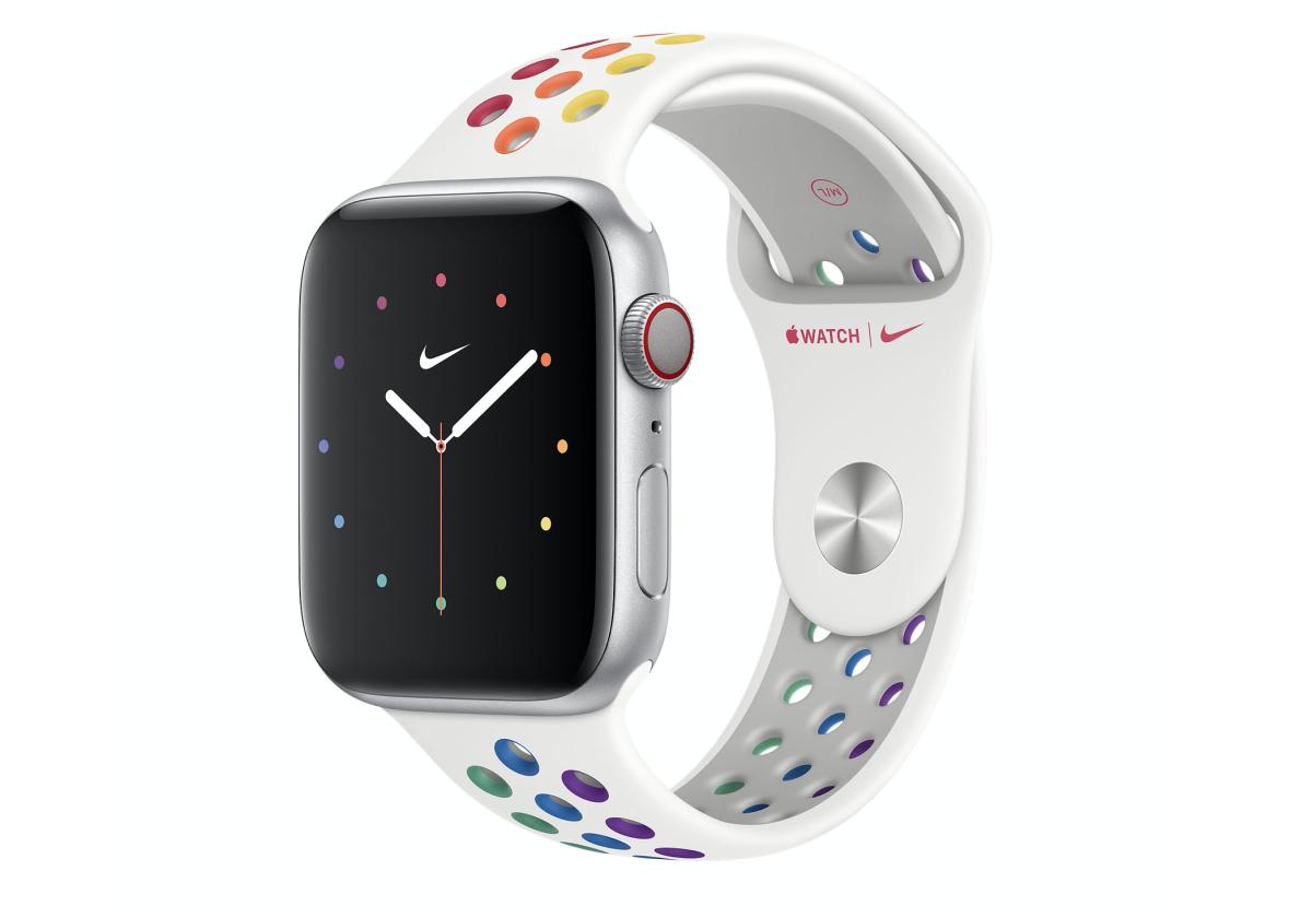 .Nike Sport 版 Pride Edition 錶帶,使用白色錶帶做底色,每個透氣孔都有不同顏色。