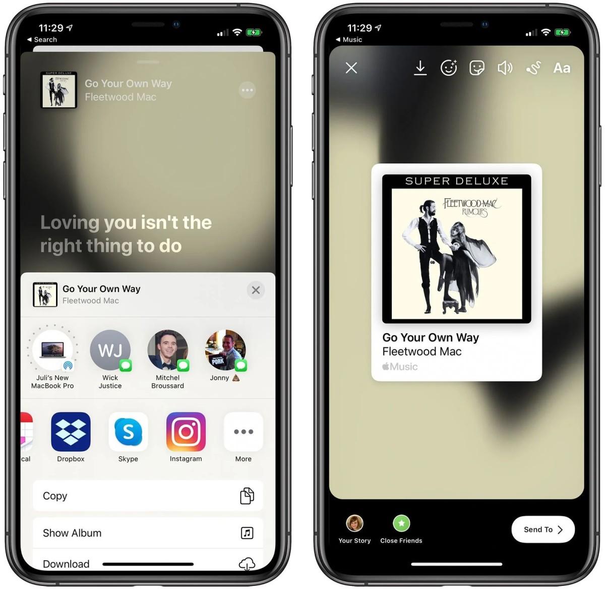 升級後可以以 Facebook 和 Instagram 限時動態來分享 Apple Music 的歌曲和專輯。
