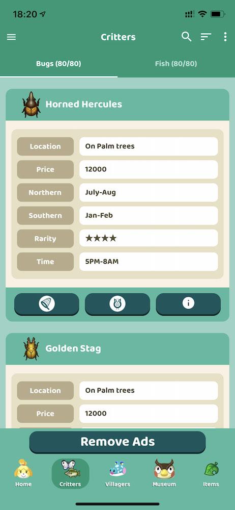 App有資料記錄,亦可知道蟲類或魚類出現的地方、時間、月份,以及變賣價錢。