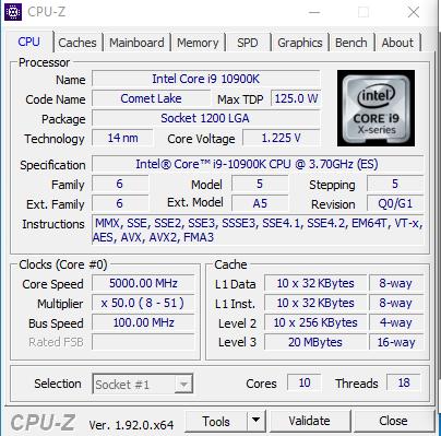 測試Core i9-10900K採用Q0/G1 Stepping。