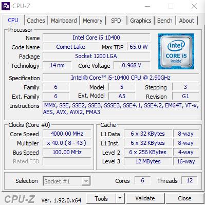 測試Core i5-10400採用了G1 Stepping。