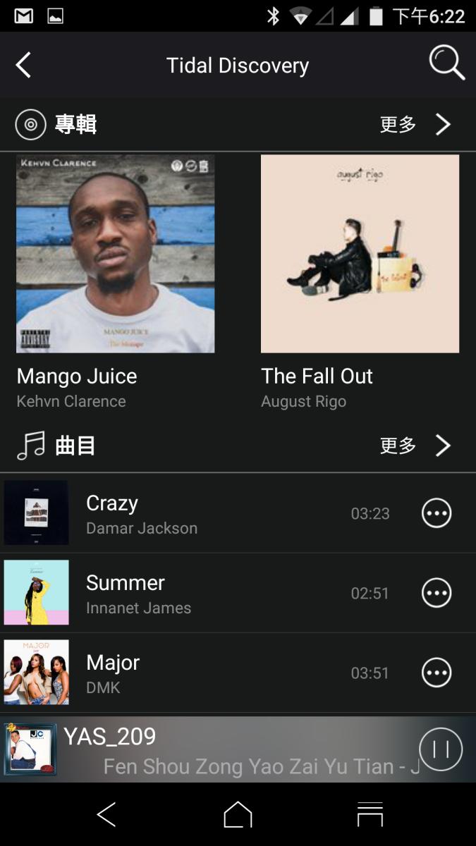 Tidal 介面跟《 Tidal 》 App 有點不一樣,也不能選擇高清版歌曲。