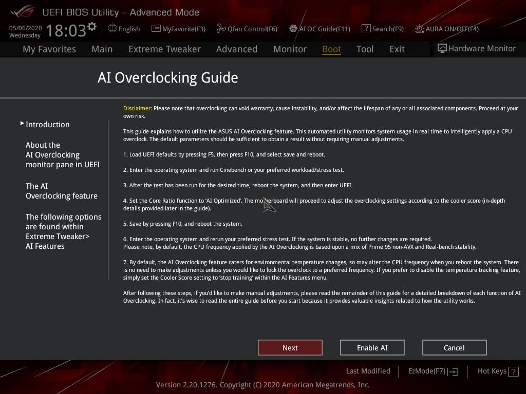 AI Overclocking Guide頁面。主要是確認超頻可能遇到的風險。