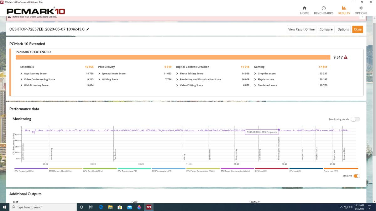 在《PCMark 10》可見Core i9-10900K最高工作時脈達到5.3GHz。