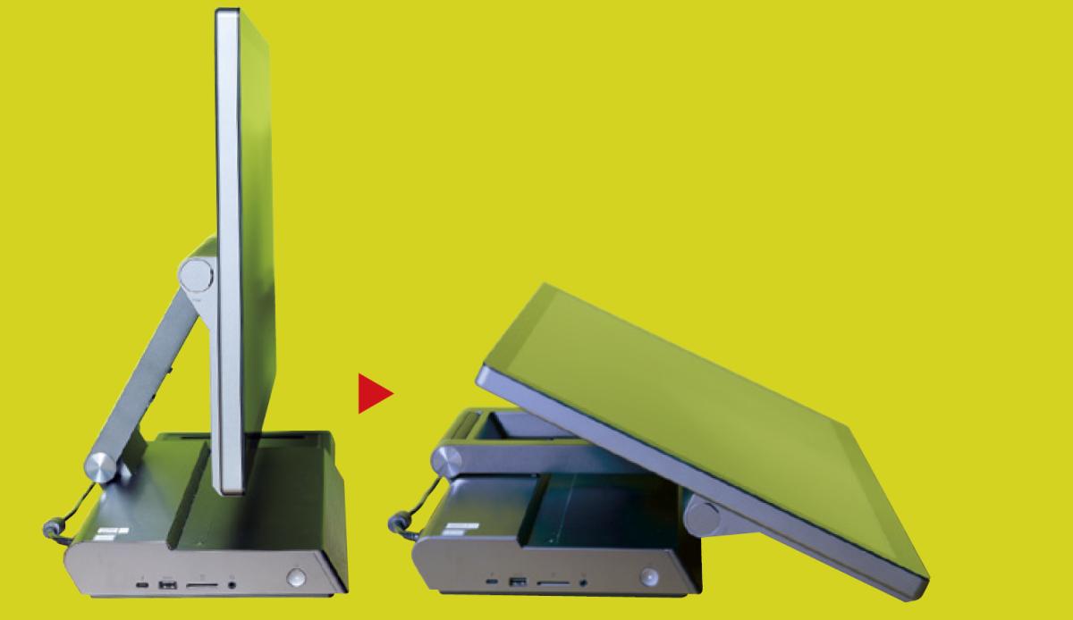 屏幕可在水平25度至垂直90度之間自由升降。