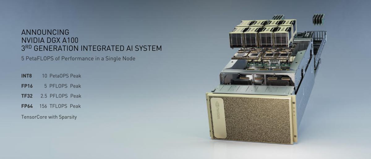 NVIDIA DGX A100 系統擁有高達5 PetaFLOPS峰值性能。如果是 INT8 的話,更有10 PetaOPS 峰值性能。
