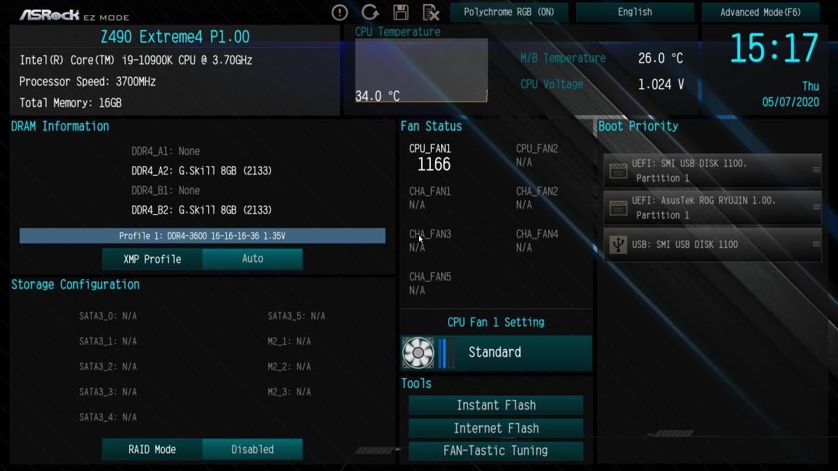 簡易模式的 BIOS (預設) 可顯示 CPU 的工作溫度等資訊