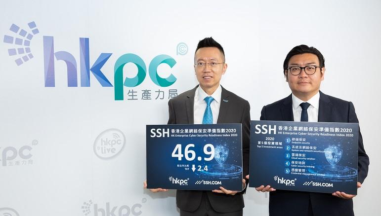 黎少斌(左)和 SSH Communications Security 亞太區副總裁何思聰公布「SSH 香港企業網絡保安準備指數 2020」調查結果,顯示今年綜合企業網絡保安準備指數較去年微跌。