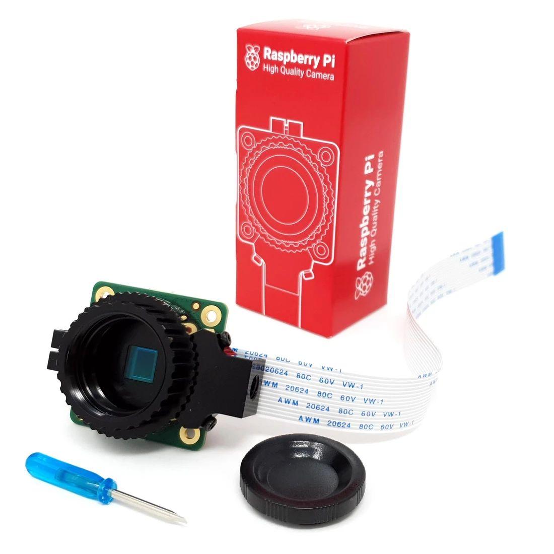 HQ 相機一套包括相機模組、 連接 RPi 的 FPC 線、用來調校的螺絲批和防塵蓋。