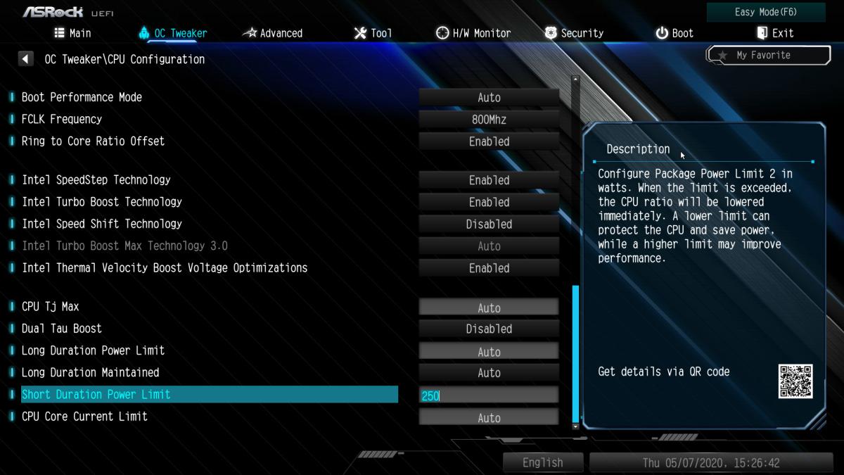 板上的「Short Duration Power Limit」也就是 PL2 設定,可有助發揮 CPU 最大性能。