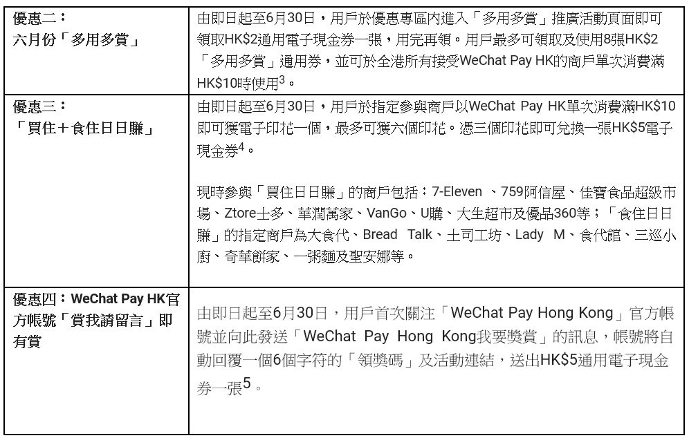 wechat pay hk 六月優惠 2