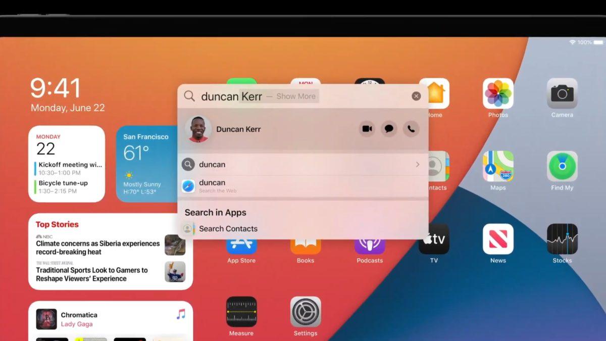 iPadOS 14 的搜尋列縮小浮在程式之上,並且可以用來搜尋各種各樣資料、通信錄、相片等。