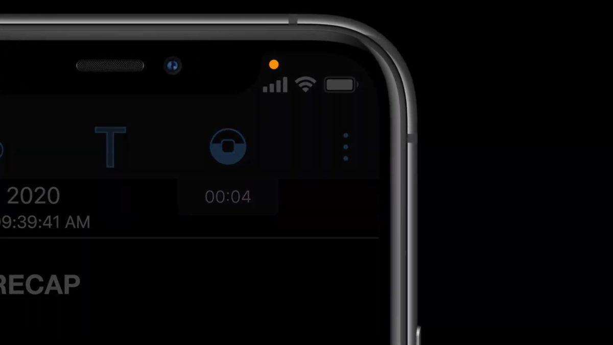 當程式使用鏡頭錄映時,將會在畫面上面狀態列標示一個小黃點,提示用戶鏡頭正在開啟。