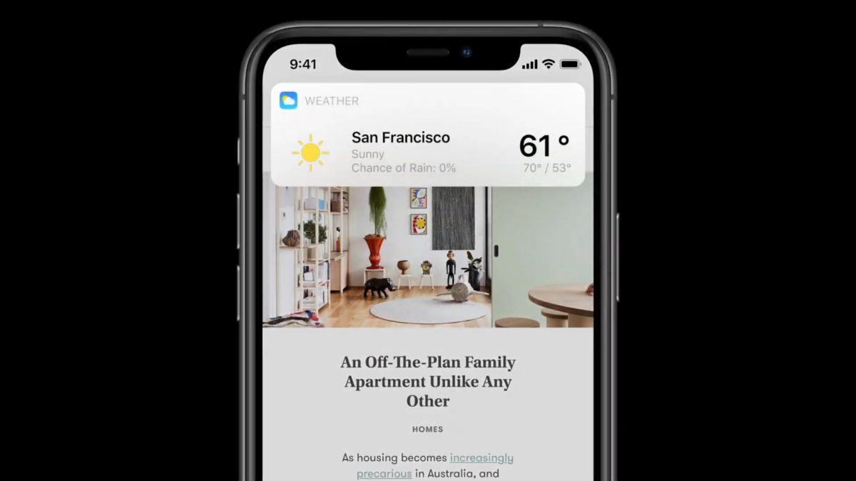 新 Siri 回應結果時會用與通知相似的介面。