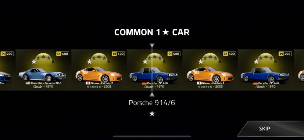 以隨機形式為玩家送上新座駕,當中分有不同等級的車型。