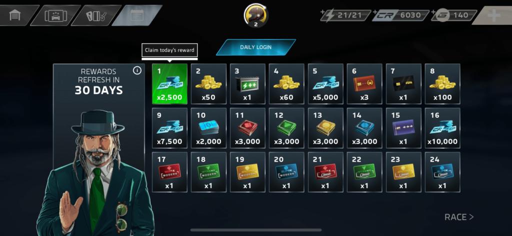 每日登入也可取得不同的獎勵及材料,以留住玩家。