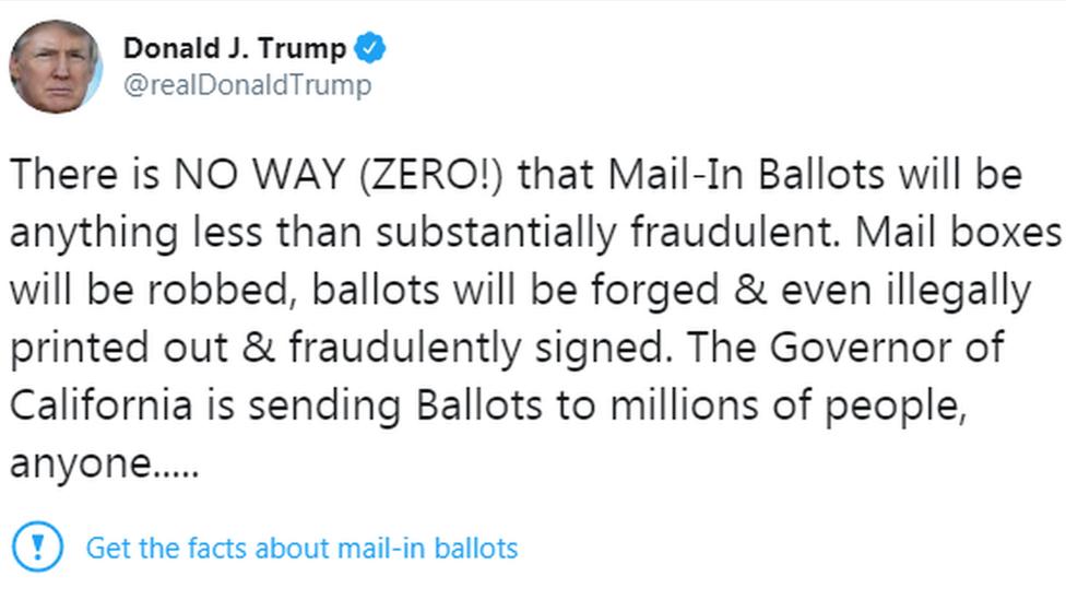 特朗普 Twitter 貼文被要求進行事實查證。