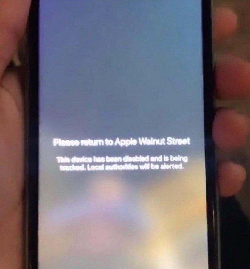 偷來的 Apple 展示產品,會顯示警告字句,勸籲有關人士將產品歸還