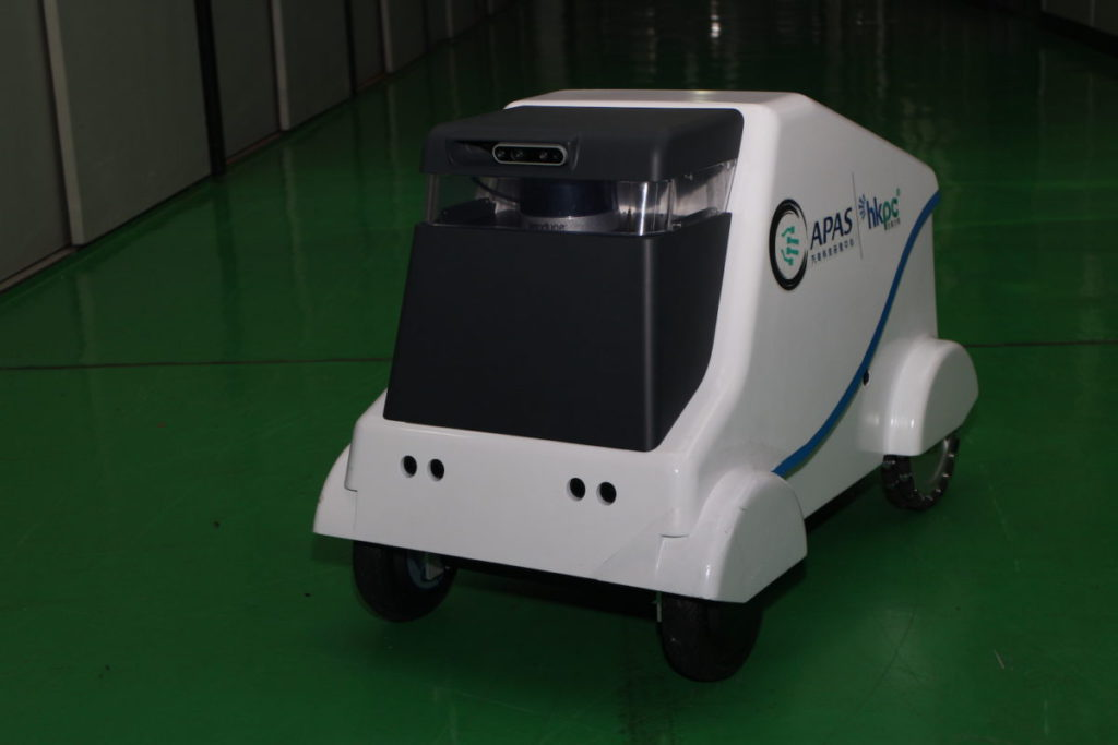 APAS 研發的自動駕駛運載系統(Minimover),在測試平台內示範 5G 的技術。