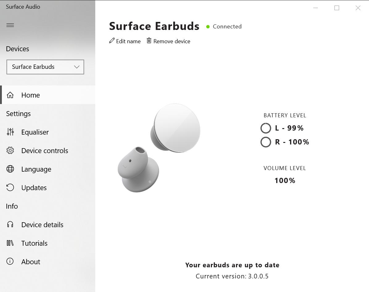 PC版和Android版的Surface Audio程式功能一樣,可以調聲及替Surface Earbuds及電池盒作軟件升級。