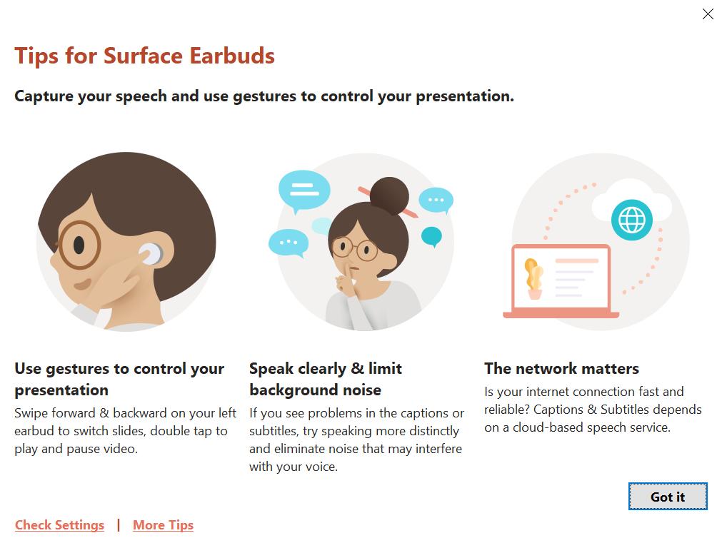 使用PC連接Surface Earbuds, 可以在PowerPoint中使用操作功能。