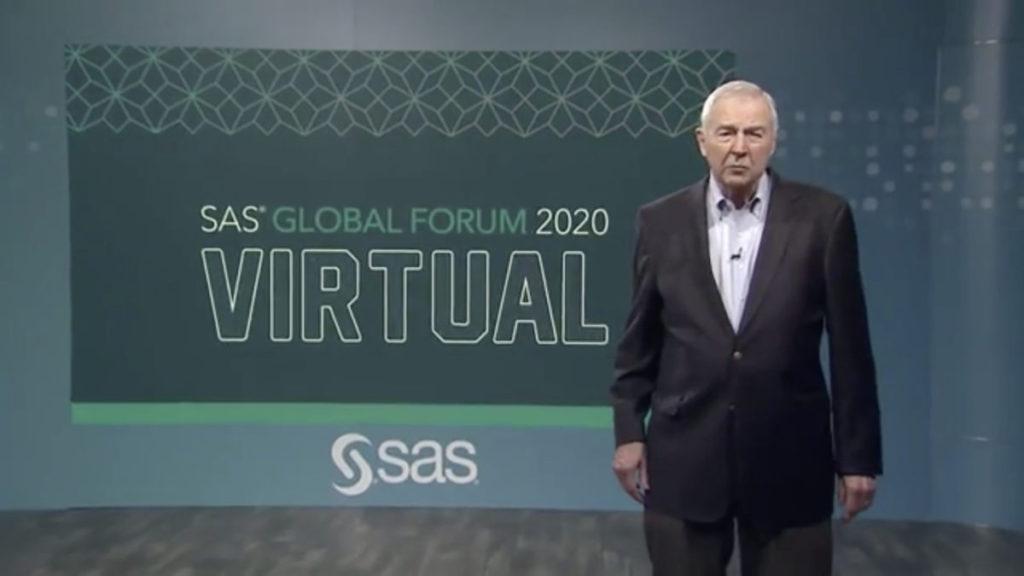 SAS 聯席創辦人兼行政總裁 Jim Goodnight 主持網上錄播大會。