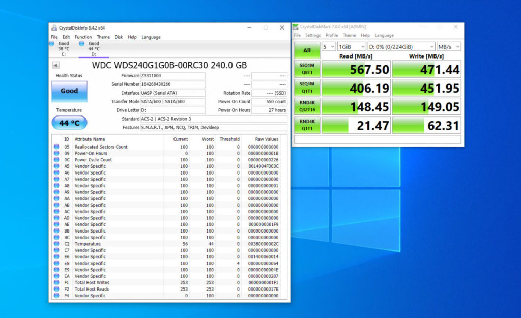 SATA 測試最高讀取達到 567.5MB/s,也是十分高的數字。