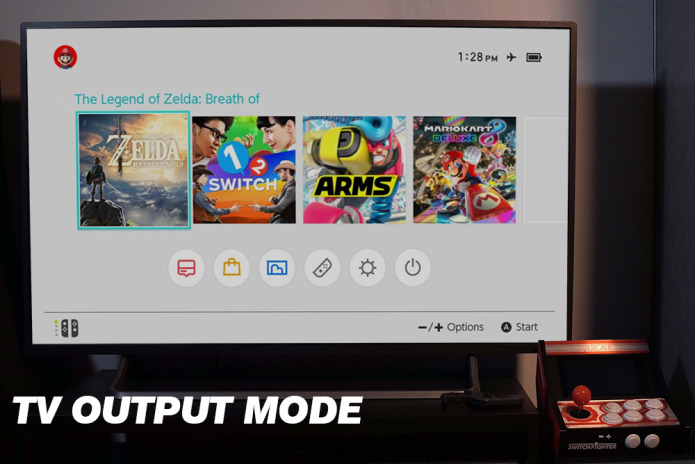 支援 Dock 模式,就像原廠 Dock 一樣以 USB-C 來充電,並同時以 HDMI 輸出電視來遊戲。