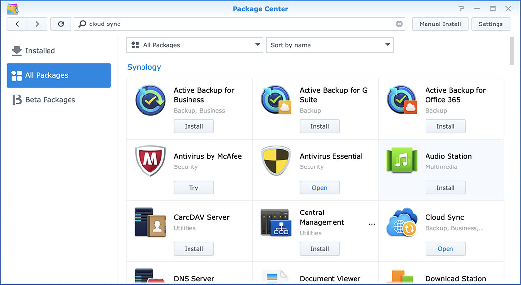 Synology Package Centre