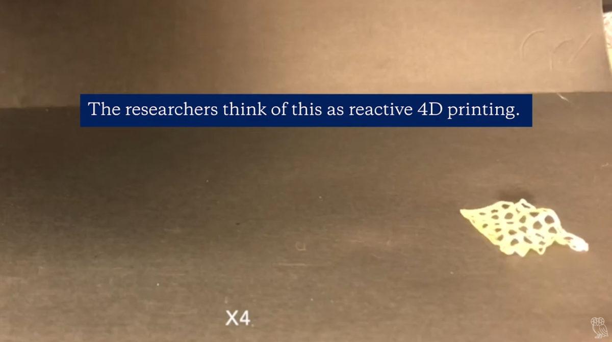 一連串變化,經由紅光照射後壓縮,由立體漸變成平面,接著再變回立體。