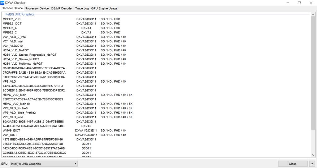 此機採用處理器內建的 UHD Graphics 顯示核心,由 DXVA Checker 可見,可以硬解 VC1 、 H.264 、 VP8 等格式的 4K 影片, HEVC 及 VP9 更支援至 8K 解像度。