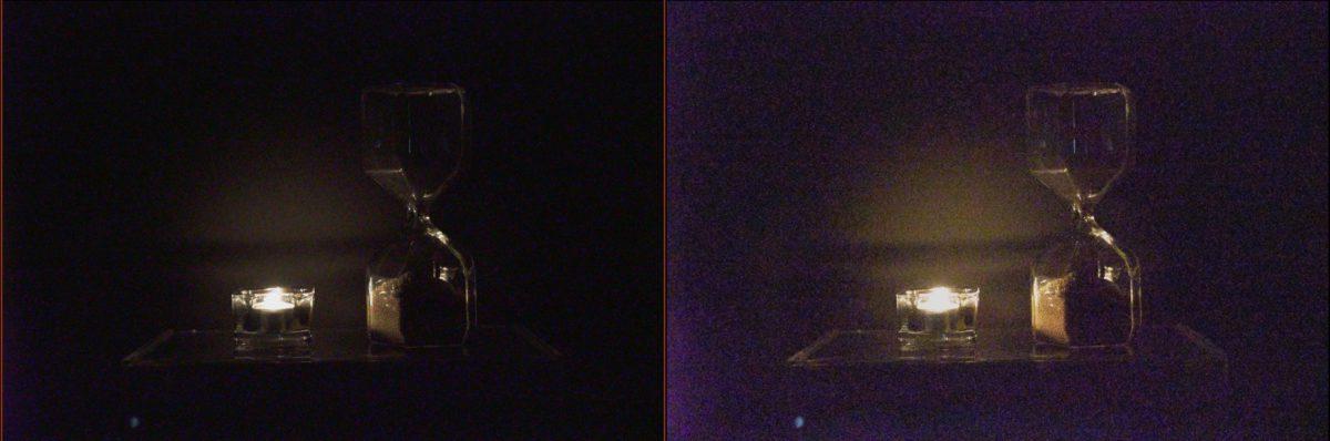 低光拍攝比較( ISO 409600 、 1/100s ):(左) A7sIII 、(右) A7sII (擷取自預覽畫面)。