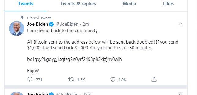 美國民主黨總統候選人拜登的 Twitter 帳戶也被駭客入侵。