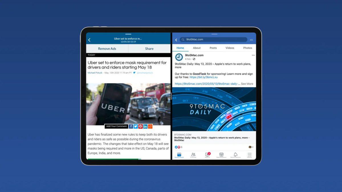 5 月中時, Facebook 也推出支援「分割顯示」的 iPadOS 更新。