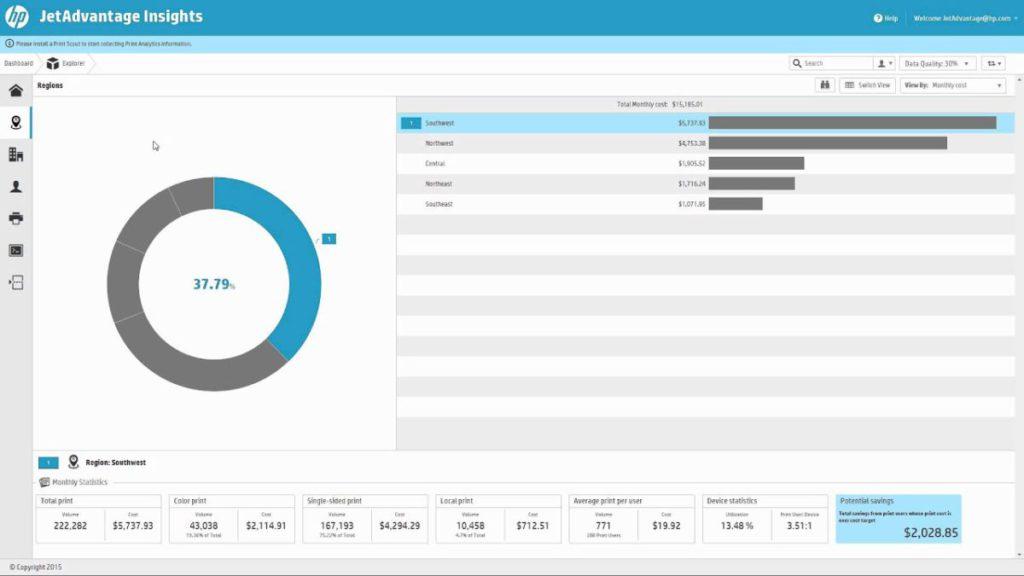 HP JetAdvantage Insights 可追蹤及分析企業的打印模式。