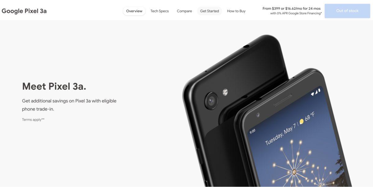 Pixel 3a 在美國 Google Store 經已售清庫存。