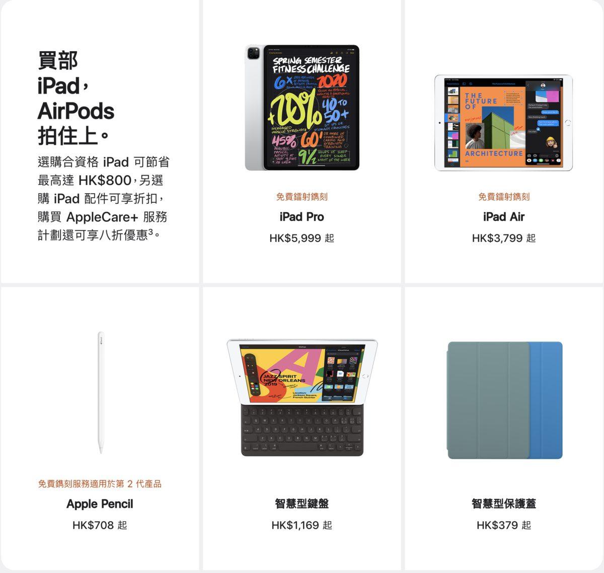 iPad 的優惠就最多有 $800 ,不過入門版的折扣一般都很低,甚至沒有。