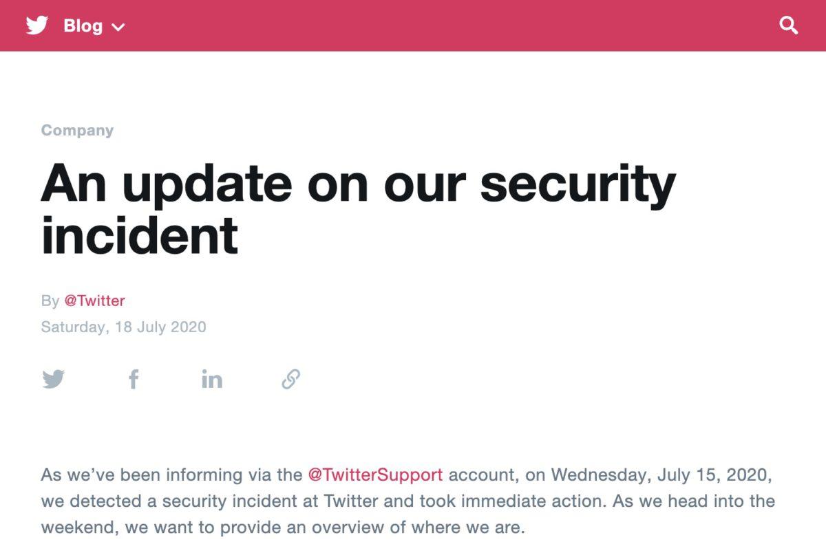 Twitter 於周末發表有關當地 15 日發生的騎劫名人帳戶、發放詐騙信息的事件報告。