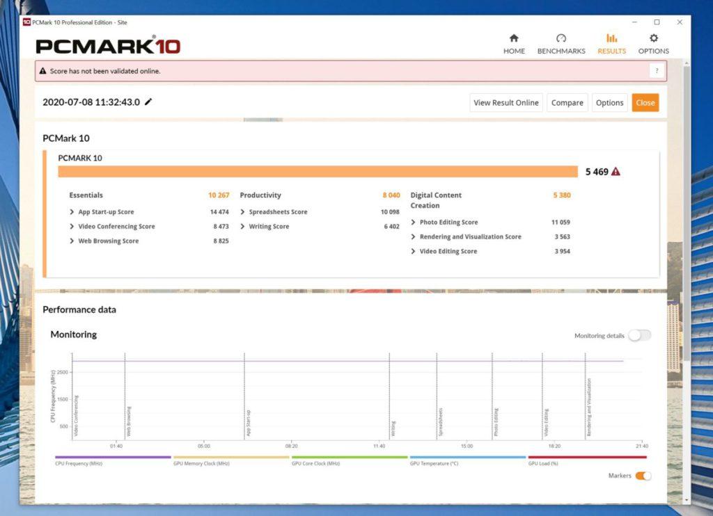 PCMark 10 跑分為 5469