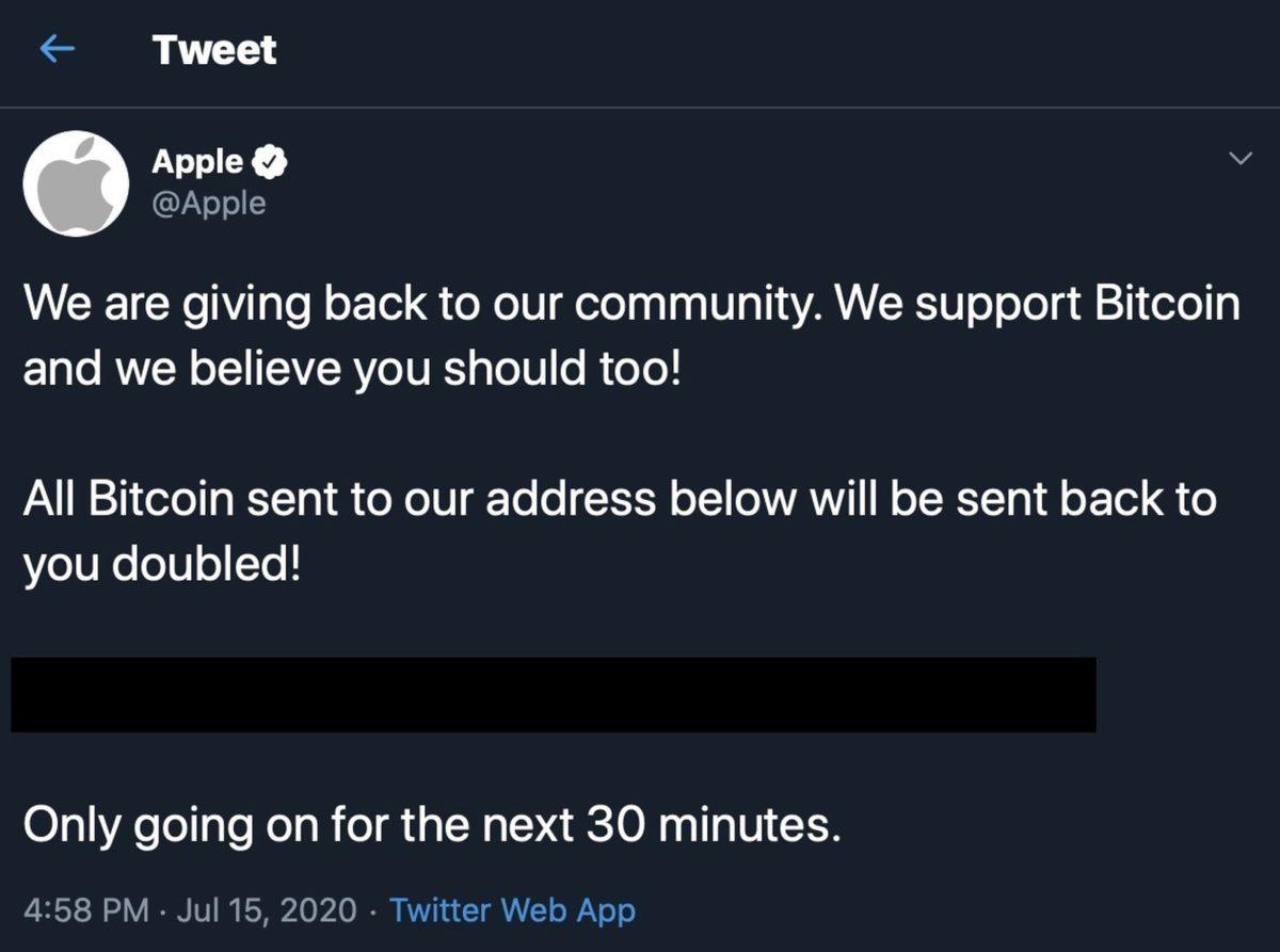 今晨 Apple 官方 Twitter 曾一度被駭,發放詐騙 Bitcoin 的信息。