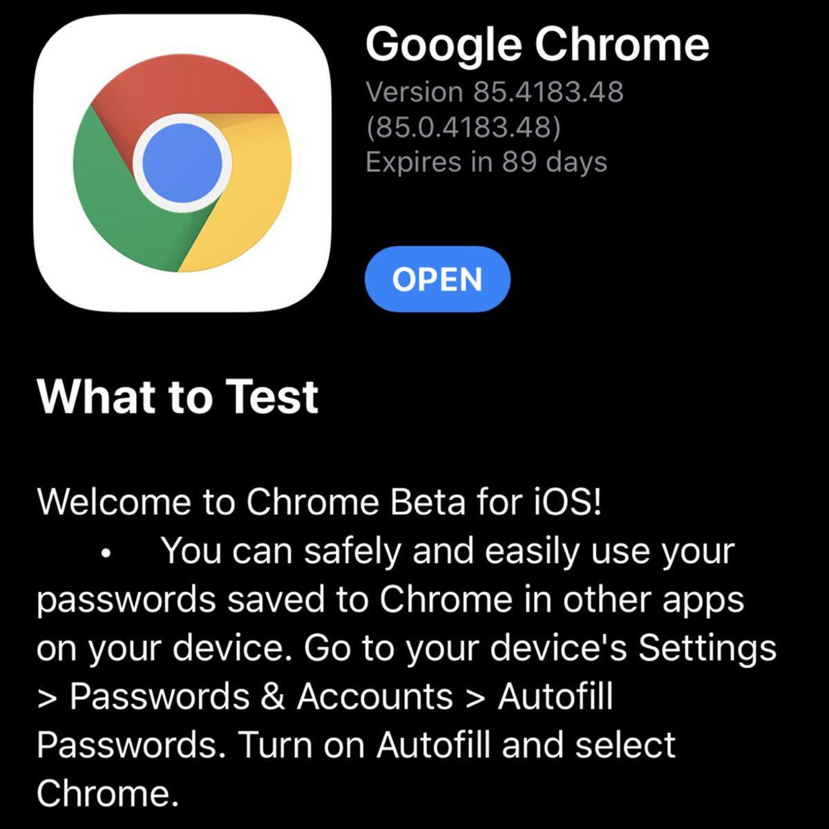 iOS 版 Google Chrome 測試密碼管理功能,為期 90 日。