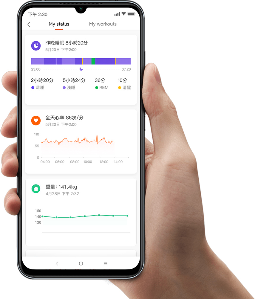 配搭小米運動 App,可以更準確監測睡眠狀況、壓力級別,甚至女性生理週期等更多指標性數據。