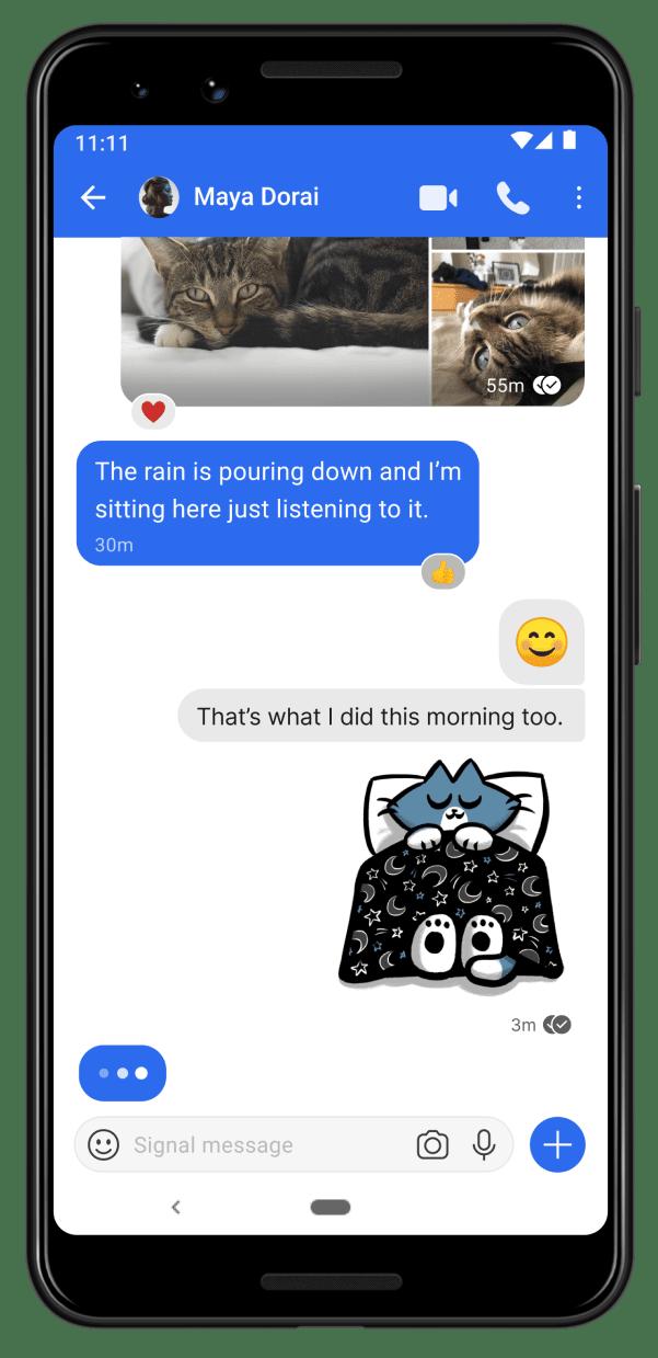 Signal 的 UI 設計與 Messenger 相似。