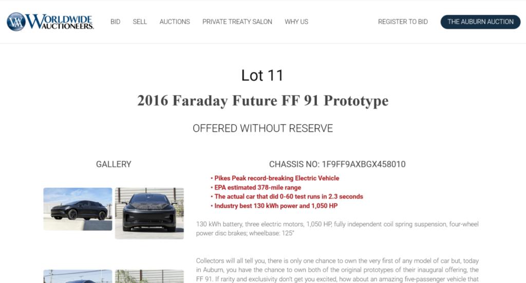 兩部  2 部 Faraday Future FF91 原型車正進行拍賣