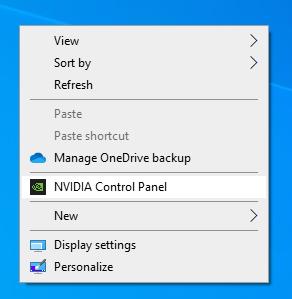 STEP 2 :在 Windows 桌面上右擊,選擇 NVIDIA Control Panel