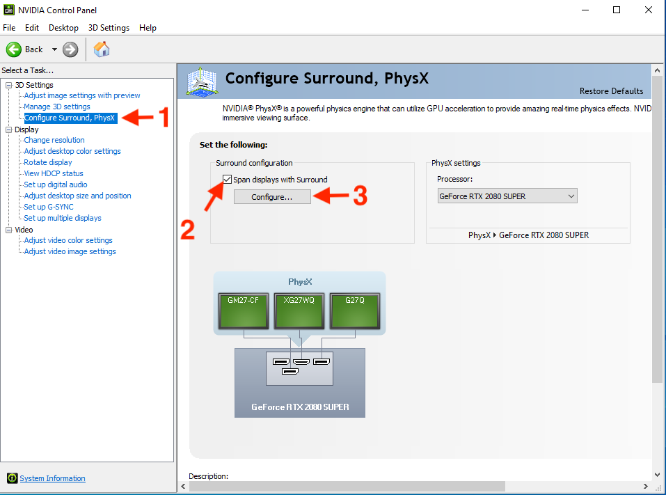 STEP 3 :在左邊選單中選擇「 Configure Surround, PhysX 」,然後在「 Surround configure 」部分勾選「 Span displays with Surround 」,再按下「 Configure... 」按鈕;