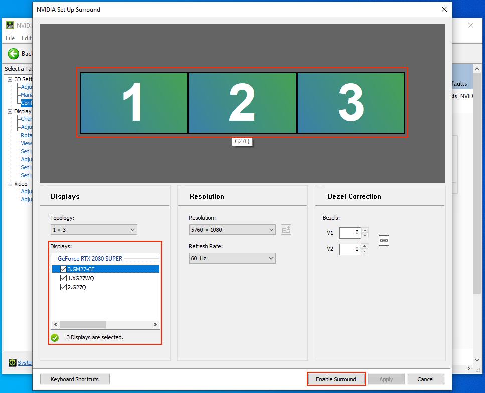 STEP 5 :在「 Displays 」,順序由左至右勾選三個屏幕,又或者在勾選所有屏幕後在上面的圖像中調配各屏幕的順序。此時大家會看到中間「 Resolution 」會自動將三個屏幕合一,而成為一個 5760x1080 的大屏幕。點選下方的「 Enable Surround 」按鈕完成設定;