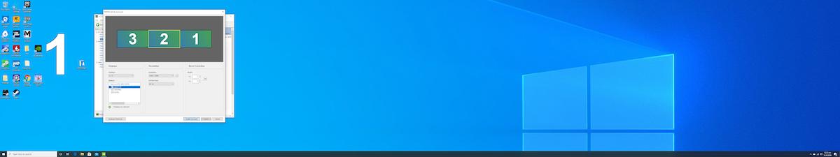 STEP 6: 當屏幕一閃、視窗一輪運算之後,就會發現 Windows 桌布變成橫跨 3 隻屏幕。按視窗右上角「 X 」就可關閉視窗完成設定。