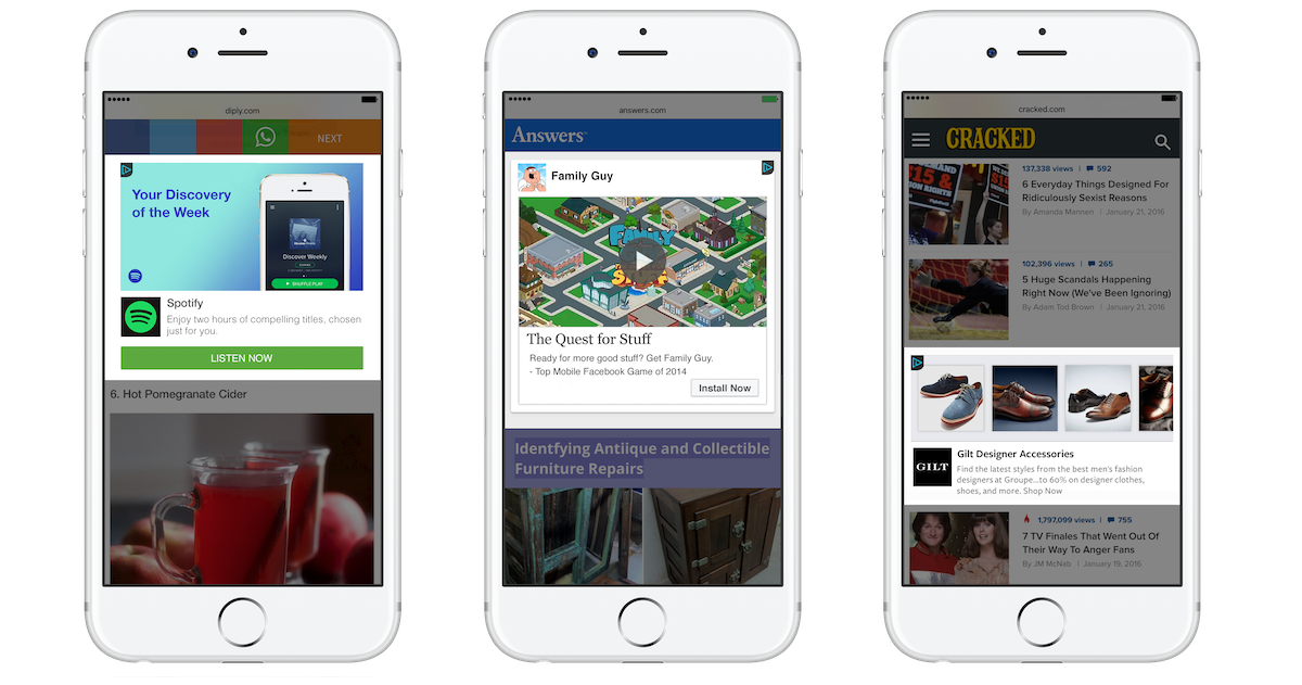 Facebook Audience Network 透過串連從不同渠道收集的用戶資料來追踪用戶,投放針對性廣告,高點擊率受到廣告商支持。
