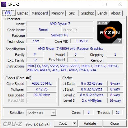 CPU-Z程式顯示筆電用的Ryzen 7 4800H,其Stepping為1。